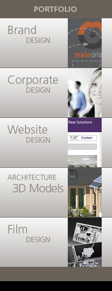 Portfolio Block Brand Design, Corporate Design, Website Design, Architecture 3D Models, Film Design